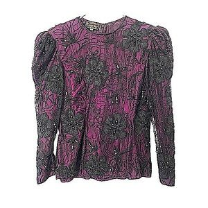 Vtg 60s Silk Lace Beading Embroidered Top Purple L